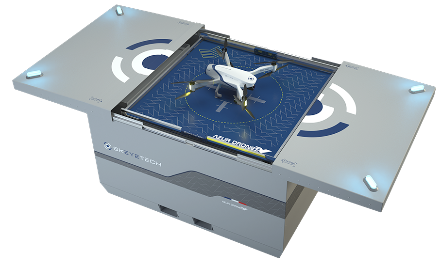 Skeyetech drone on its docking station for sensitive sites protection