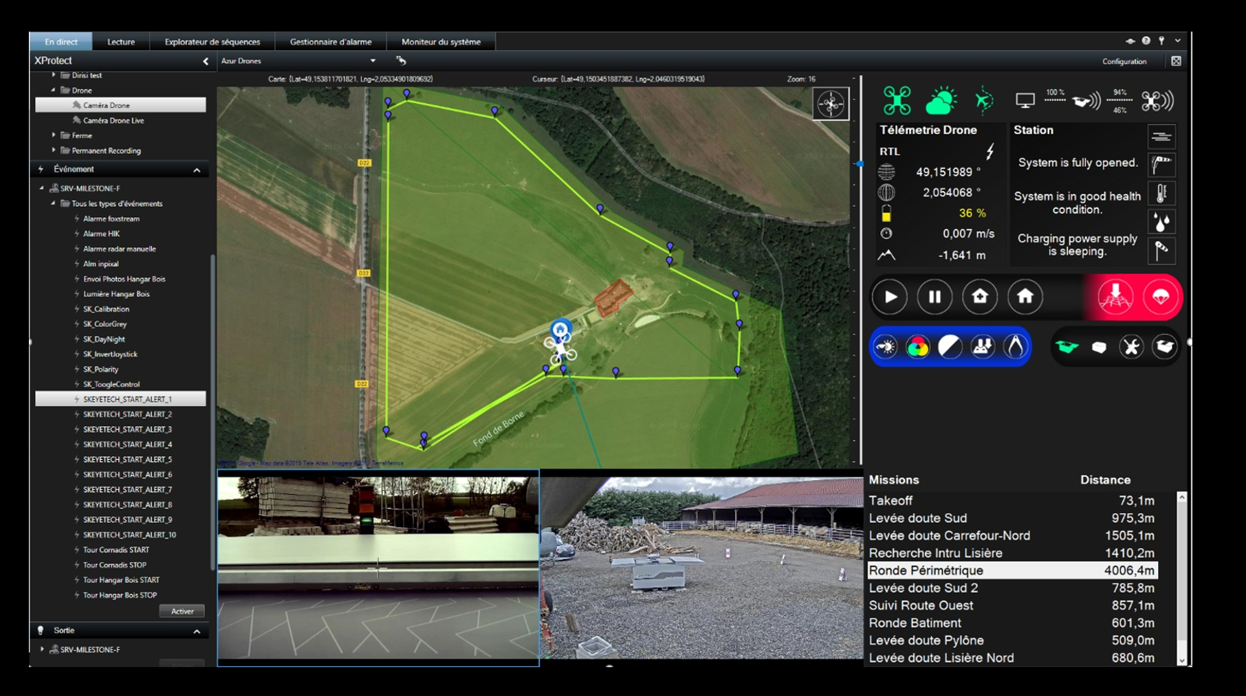 Skeyetech drone control software in Milestone Video Management System